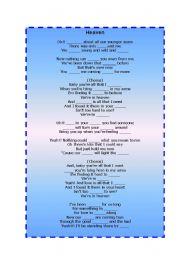 English Worksheet: Bryan Adams - Heaven