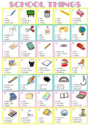 English Worksheet: school things ( multiple choice )