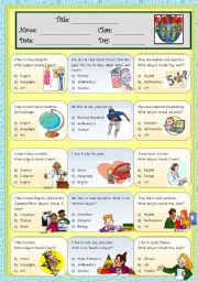 English Worksheets: School Subject