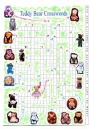 English Worksheets: teddy bear crossword