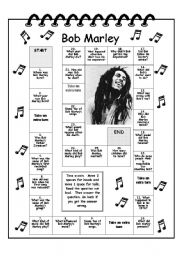 English Worksheets: Bob Marley trivia game, reading comp,  questionnaire and  key