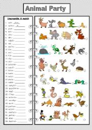 English Worksheet: Animal Party