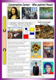 English Worksheet: Conversation Corner: Art - Who Painted These?