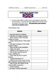 English Worksheets: Getting to Know You