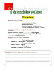 English Worksheet: What do you Know about Morocco