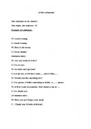English worksheet: a dialogue in a restaurant
