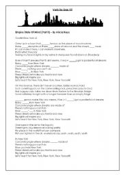English Worksheet: Verb Be gap fill Song - Empire State Of Mind (Part II)  By Alicia Keys