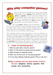 English Worksheet: Why play computer games?