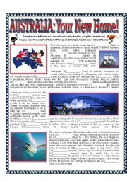 English Worksheet: Tense Review - Australia: Your New Home - All Tenses: Past/Present/Future