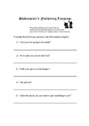 English Worksheets: worksheet to accompany Elizabethan to Moderen english PowerPoint