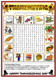 English Worksheet: Thanksgiving  (BW+ key included)