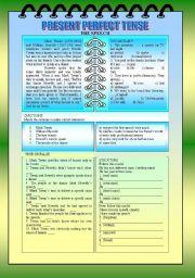 English Worksheet: PRESENT PERFECT TENSE - READING AND INTERPRETATION + KEY