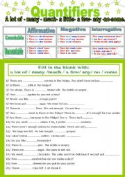 English Worksheet: Quantifiers ( Countable/ uncountable nouns)