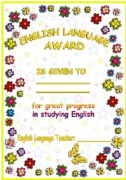 English Worksheet: Englsh Language Award.