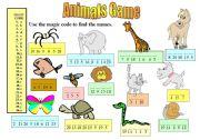 English Worksheet: Animals Game