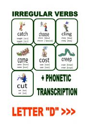 English Worksheet: Set2: Irregular verbs cards + phonetic transcription