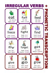 Set3: Irregular verbs cards + phonetic transcription