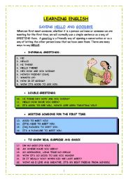 English Worksheets: GREETINGS AND GOOD-BYES