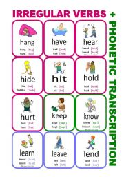 English Worksheet: Set4: Irregular verbs cards + phonetic transcription