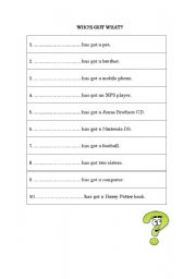 English Worksheets: who�s got what?