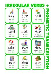 English Worksheet: Set6: Irregular verbs cards + phonetic transcription
