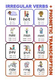 English Worksheet: Set5: Irregular verbs cards + phonetic transcription