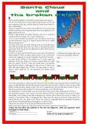 English Worksheet:  Santa Claus and the broken sleigh