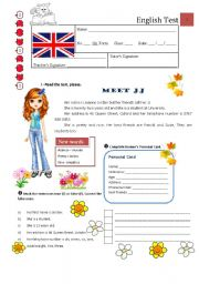English Worksheet: Test A - 5th Grade