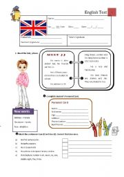 English Worksheet: Test B - 5th Grade
