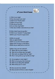 English Worksheets: Oral test - questions