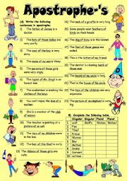 English worksheet: Exercises on Apostrophe-´s (Editable with Key)