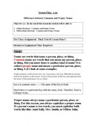 English Worksheet: Difference: Common and Proper Nouns