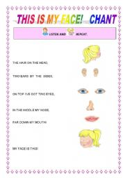 English Worksheets: This is my face!  Chant 1/5