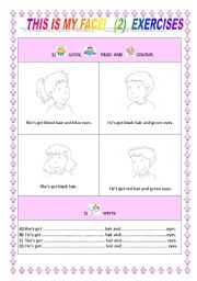 English Worksheets: This is my face! Exercises 2/5
