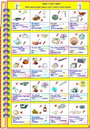 English Worksheets: Need or don�t need with answer key ** fully editable