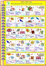English Worksheets: Needs or doesn�t need with answer key ** fully editable