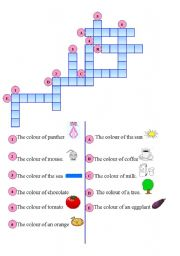English Worksheet: colours crossword