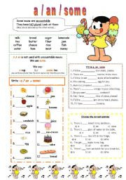 English Worksheet: a - an - some / countables and uncountable nouns