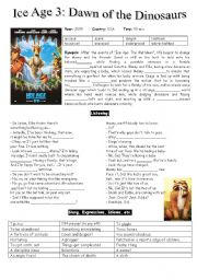 English Worksheets: Ice Age 3: Dawn of the Dinosaurs