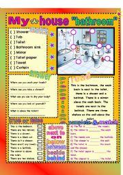 English Worksheet: My house-bathroom