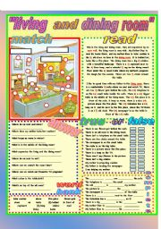 English worksheet my house living dining room for Dining room vocabulary esl