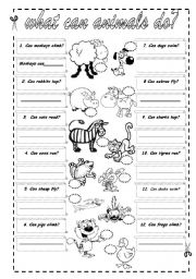 can what can animals do esl worksheet by lolelozano. Black Bedroom Furniture Sets. Home Design Ideas