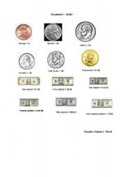 english worksheets vocabulary about money american dollars and cents. Black Bedroom Furniture Sets. Home Design Ideas