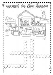 English Worksheet: Rooms in the House- Crossword + Key