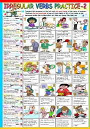 English Worksheets: IRREGULAR VERBS PRACTICE -2- (B&W VERSION + KEY INCLUDED)