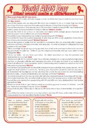 English Worksheets: World AIDS Day - What would make a difference? - reading comprehension [2 pages] ***editable