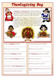English Worksheet: Thanksgiving Day - reading comprehension ***editable