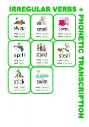 English Worksheet: Set7: Irregular verbs cards + phonetic transcription