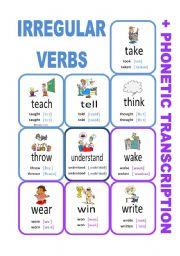 English Worksheet: Set8: Irregular verbs cards + phonetic transcription