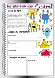 English Worksheet: Read - Match - Describe - Create: MONSTERS (1)